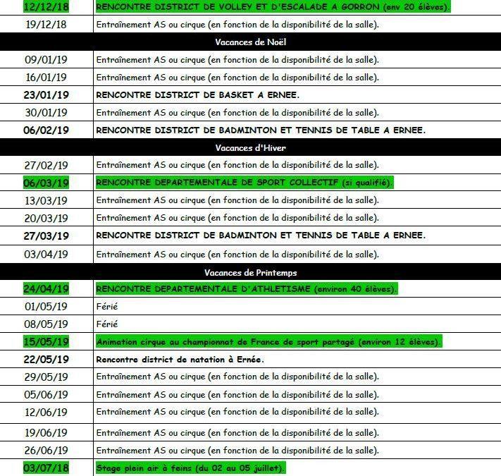 Les mercredis de l'Association Sportive : le planning !